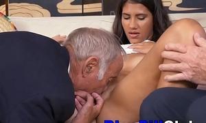 Dirty Latin Teenage Slut Fucks Very Elderly Men