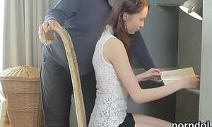 Cute schoolgirl was tempted and fucked by their way elderly trainer