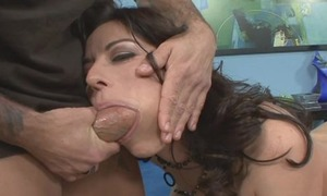 Frisky MILF with natural tits takes fat nib as deep as she can