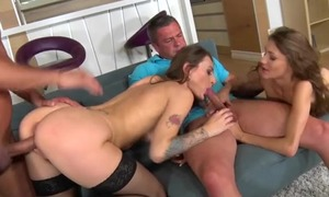 Two skinny bimbos getting their dear one holes hammered